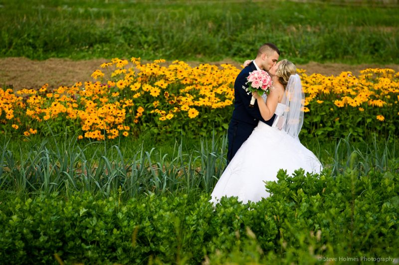 Bride and Groom kiss passionately in a field with yellow flowers in the background.