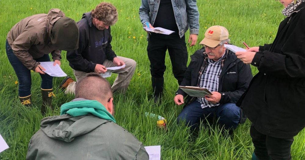 A class being taught in a field