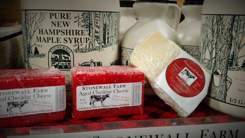 Locally made cheese and maple syrup