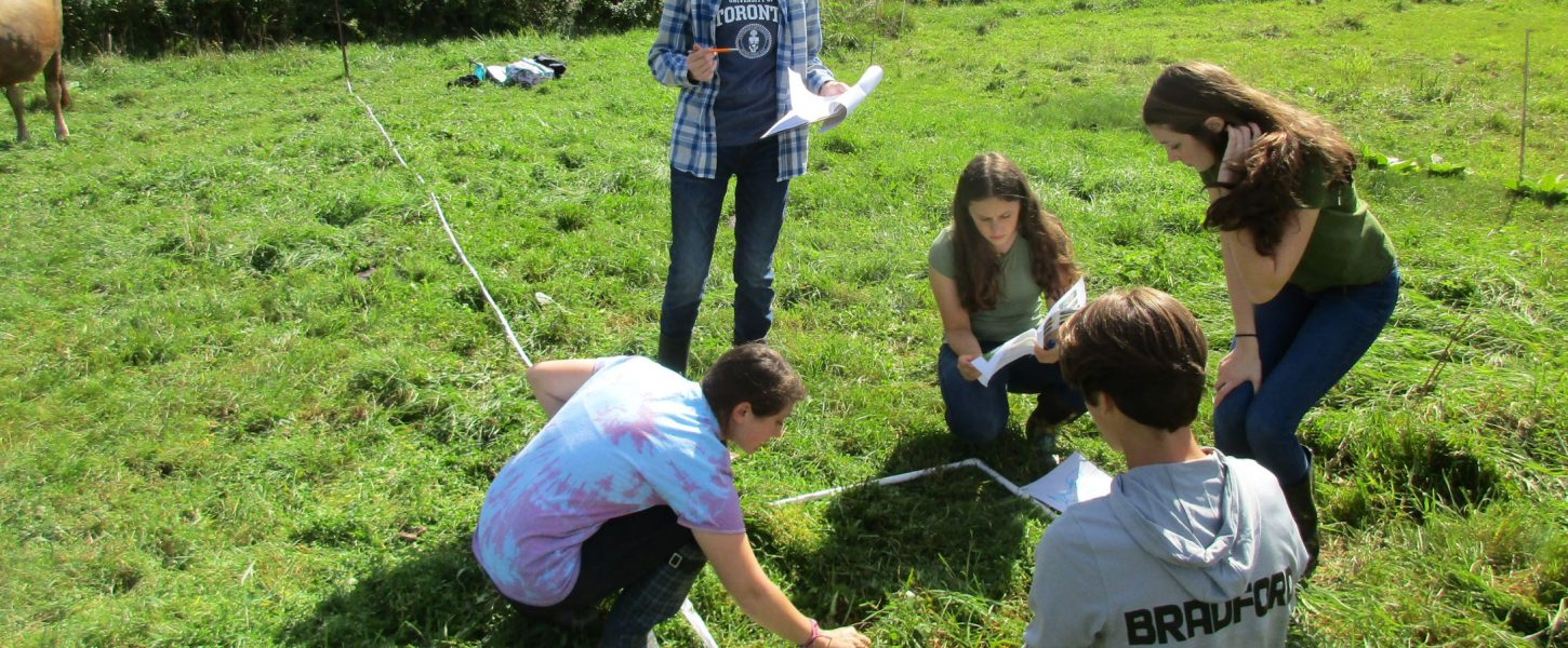High Schoolers participating in mapping out planting beds