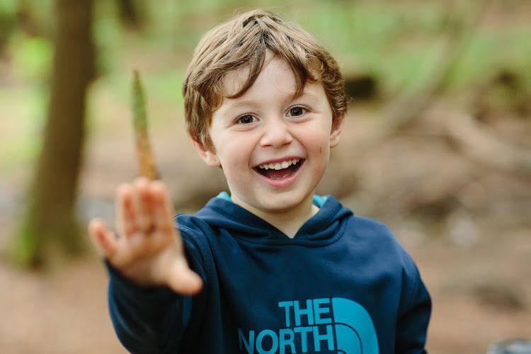 A boy having fun outside