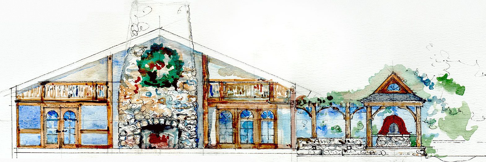 Watercolor stonewall farm rendering